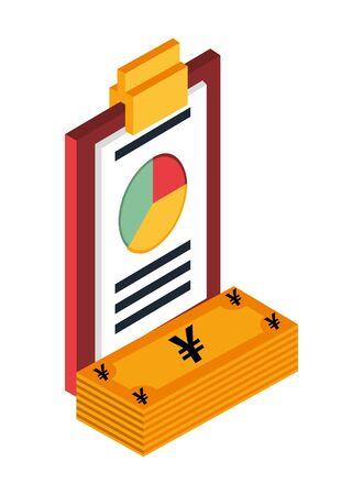 yens bills money with statistics pie vector illustration design Stock Illustratie