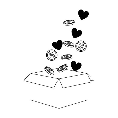 box with hearts and coins over white background, flat design, vector illustration Stock Illustratie