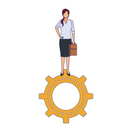 businesswoman standing on gear wheel over white background, vector illustration