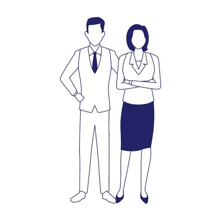 avatar business couple icon over white background, flat design, vector illustration 矢量图像