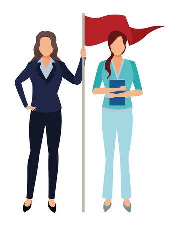 executive business women with success flag cartoon vector illustration graphic design
