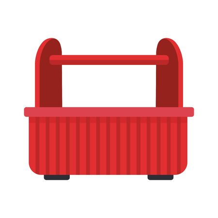 red tools box icon over white background, vector illustration