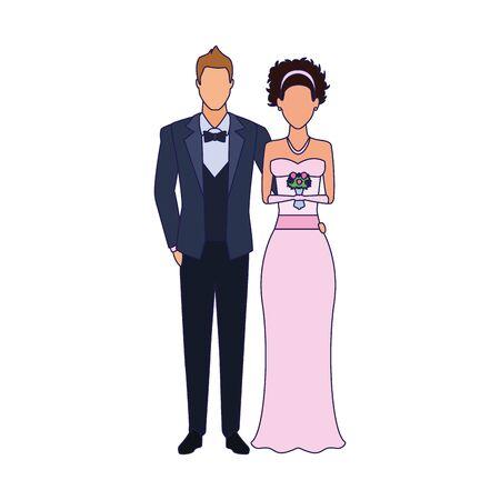 avatar bride and groom standing icon over white background, vector illustration Illusztráció