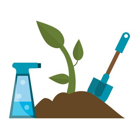 Gardening tools water can plant and shovel vector illustration graphic design