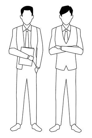 executive business men cartoon vector illustration graphic design Illusztráció