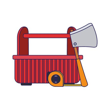 tools box with hand meter and ax tool icon over white background, vector illustration Ilustração