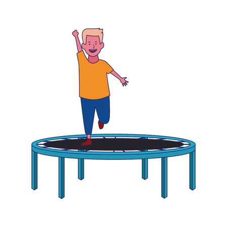 happy boy on trampoline playground icon over white background, vector illustration