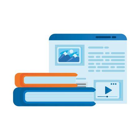 template webpage window with books vector illustration design Иллюстрация
