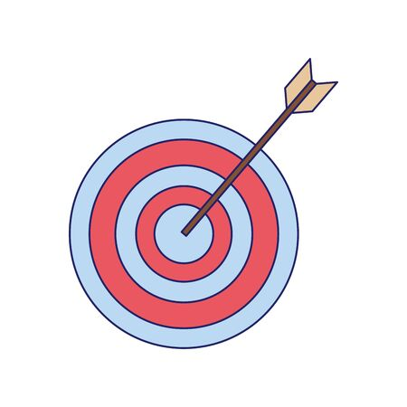 arrow hits the target, target icon over white background, vector illustration