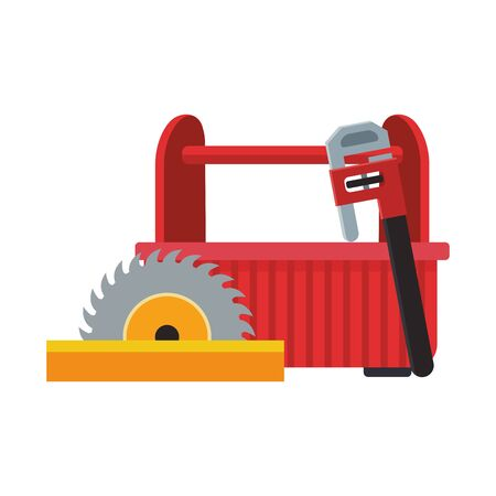 saw with tools box and pipe wrench over white background, vector illustration