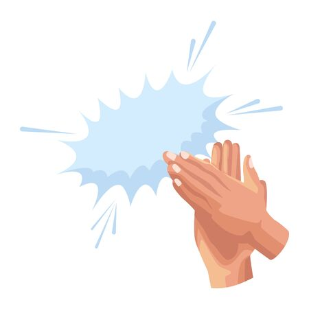 Hands clapping with burst effect icon over white background, vector illustration