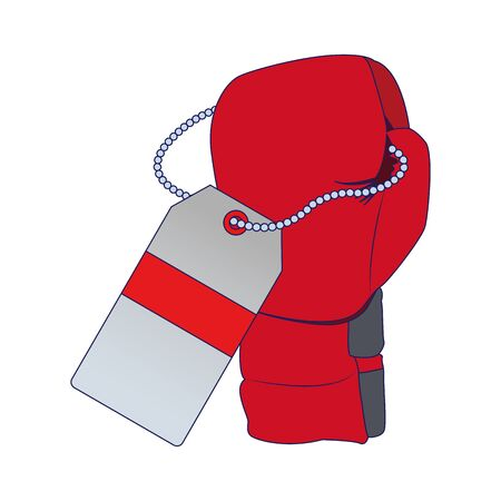 boxing glove with price tag icon over white background, vector illustration