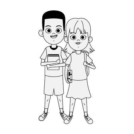 happy boy and girl wearing casual clothes over white background, flat design, vector illustration