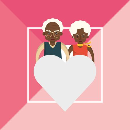 afro grandparents couple lovers with heart vector illustration design