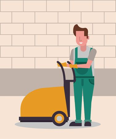 housekepping male worker with Floor shining vector illustration design