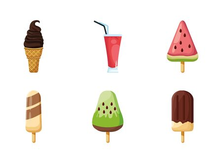 Sweet icon set design, dessert food delicious sugar snack and tasty theme Vector illustration