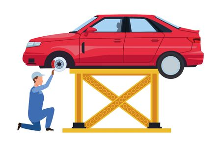 industry car manufacturing worker cartoon vector illustration graphic design