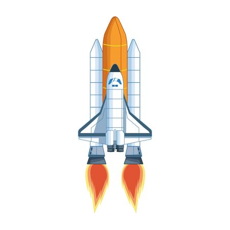 spaceship launch icon over white background, vector illustration