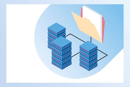 big data technology with servers towers vector illustration design