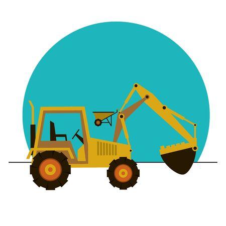 excavator construction machine vehicle icon vector illustration design Vettoriali