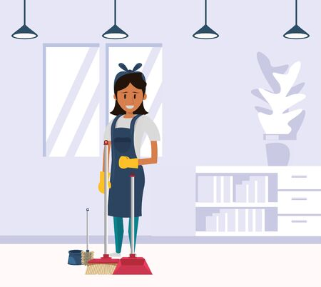 woman worker housekepping with broom vector illustration design Vettoriali