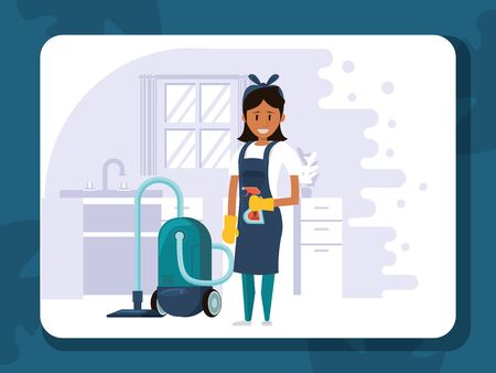 woman worker housekepping with vacuum cleaner vector illustration design Vettoriali