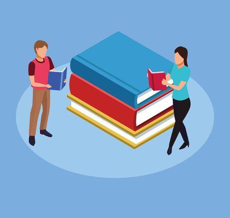 group of mini people reading books vector illustration design Vettoriali