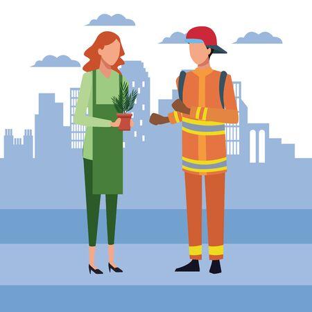 Avatar mujer sosteniendo una maceta y bombero de pie sobre el fondo urbano de la ciudad azul, diseño colorido, ilustración vectorial Ilustración de vector