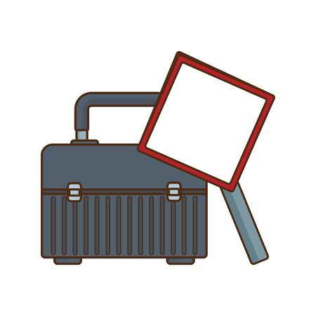 tool box and blank warning sign icon over white background, vector illustration