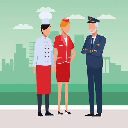 Chef, air hostess and pilot standing over city background, colorful design, vector illustration