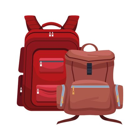 travel backpacks icon over white background, vector illustration