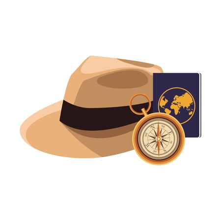 beach hat and compass icon over white background, vector illustration