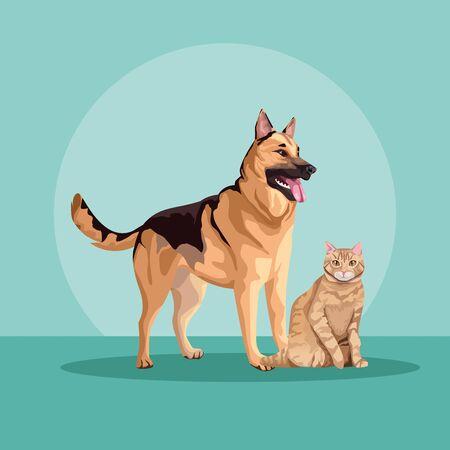 dog and cat mascots domestics vector illustration design