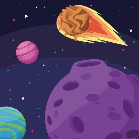 planetas luna y asteroide cosmos astronomía exploración espacial ilustración vectorial