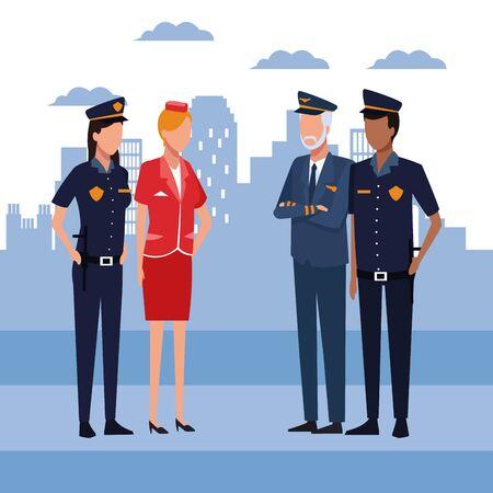 Pareja de policías con piloto y azafata de pie sobre el fondo urbano de la ciudad, diseño colorido, ilustración vectorial Ilustración de vector