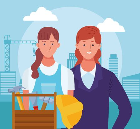 cartoon business woman and repair woman and tools box over under construction scenery background, colorful design , vector illustration