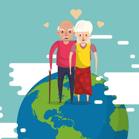 cute grandparents couple lovers in the world planet vector illustration design