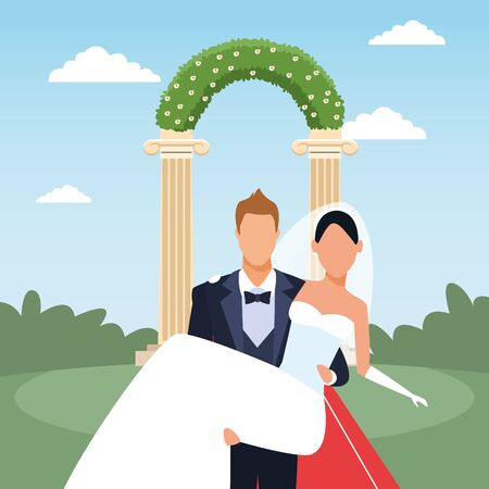 just married scenery with Groom holding bride in his arms, colorful design, vector illustration