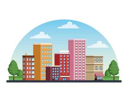 buildings cityscape urban scene icon vector illustration design