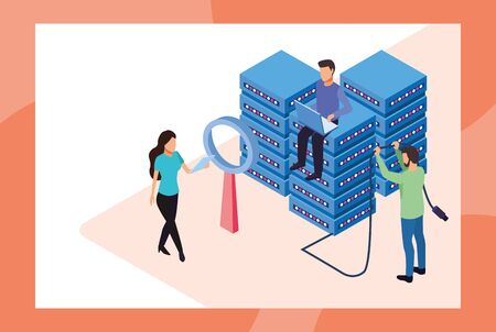 big data technology with servers and people vector illustration design Illustration
