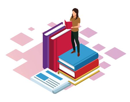 woman reading a book and big books around over white background, colorful isometric design, vector illustration