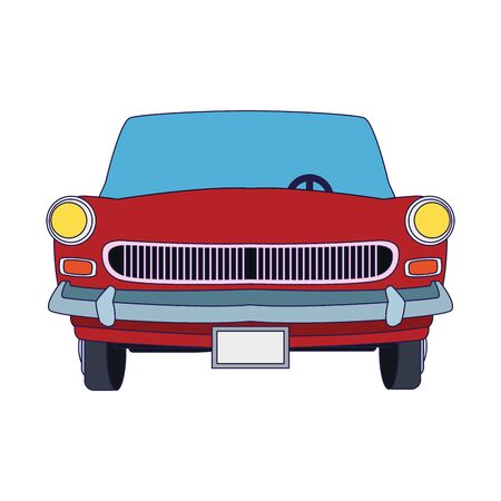 front view of classic car icon over white background, vector illustration