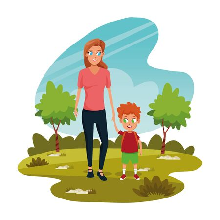happy mother with her son in the park over white background, colorful design, vector illustration