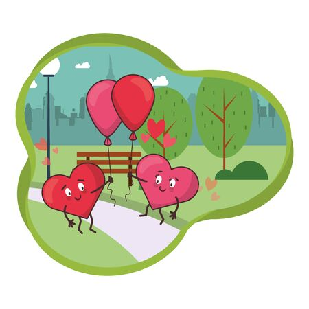 hearts lovers couple characters with balloons helium vector illustration design Ilustrace