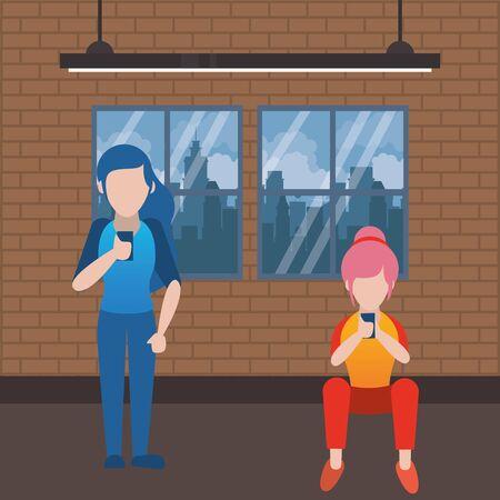young couple using smartphone avatars characters vector illustration design Archivio Fotografico - 139037040