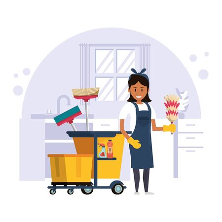 woman worker housekepping with equipment vector illustration design Vettoriali