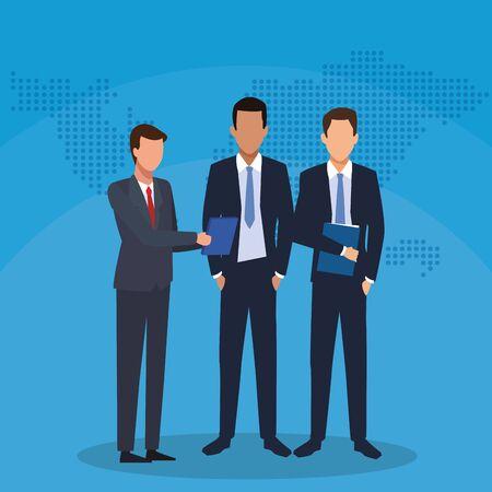 businessmen team colleague with folder success start up business vector illustration Archivio Fotografico - 139037671