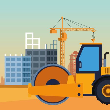 road roller truck over under construction scenery, colorful design, vector illustration