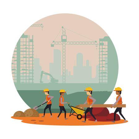 builders working under construction scene vector illustration design Archivio Fotografico - 139039656