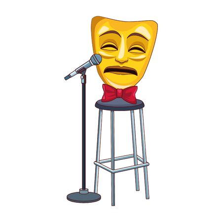 tragedy comedy mask with stand microphone icon over white background, colorful design, vector illustration
